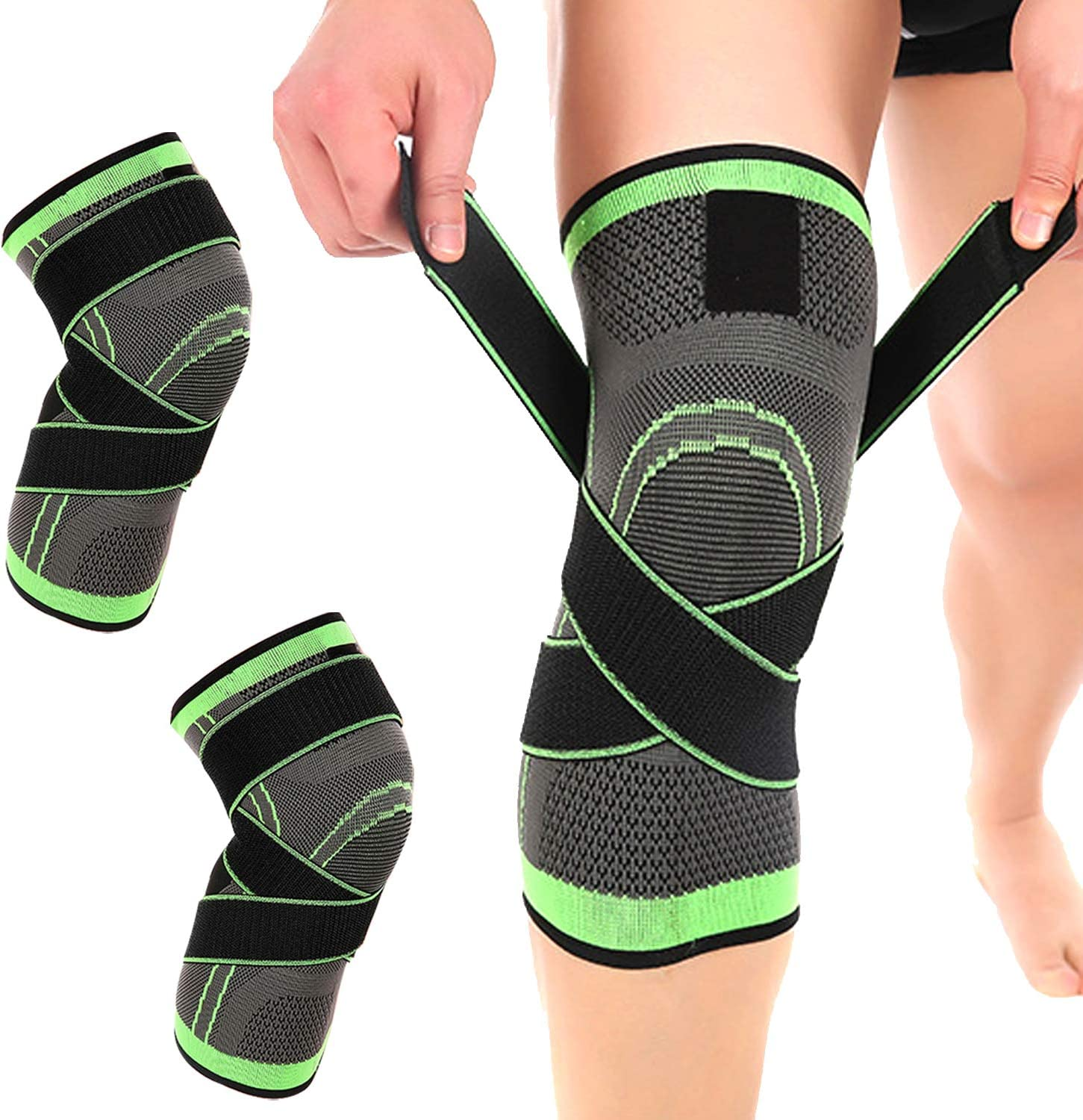 Workout | Best X-Band Knee Brace for Men /& Women Sports Sports Knee Compression Sleeve Gym Weightlifting Green, L Basketball Knee Support for Running Baseball 2 Pack