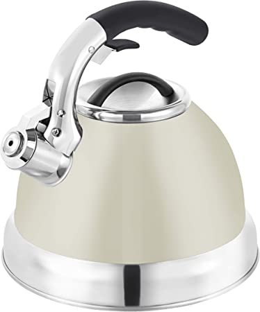Tower Essentials 3 Litre Stove Top Kettle, Whistling Kettle, Stainless Steel, Cream