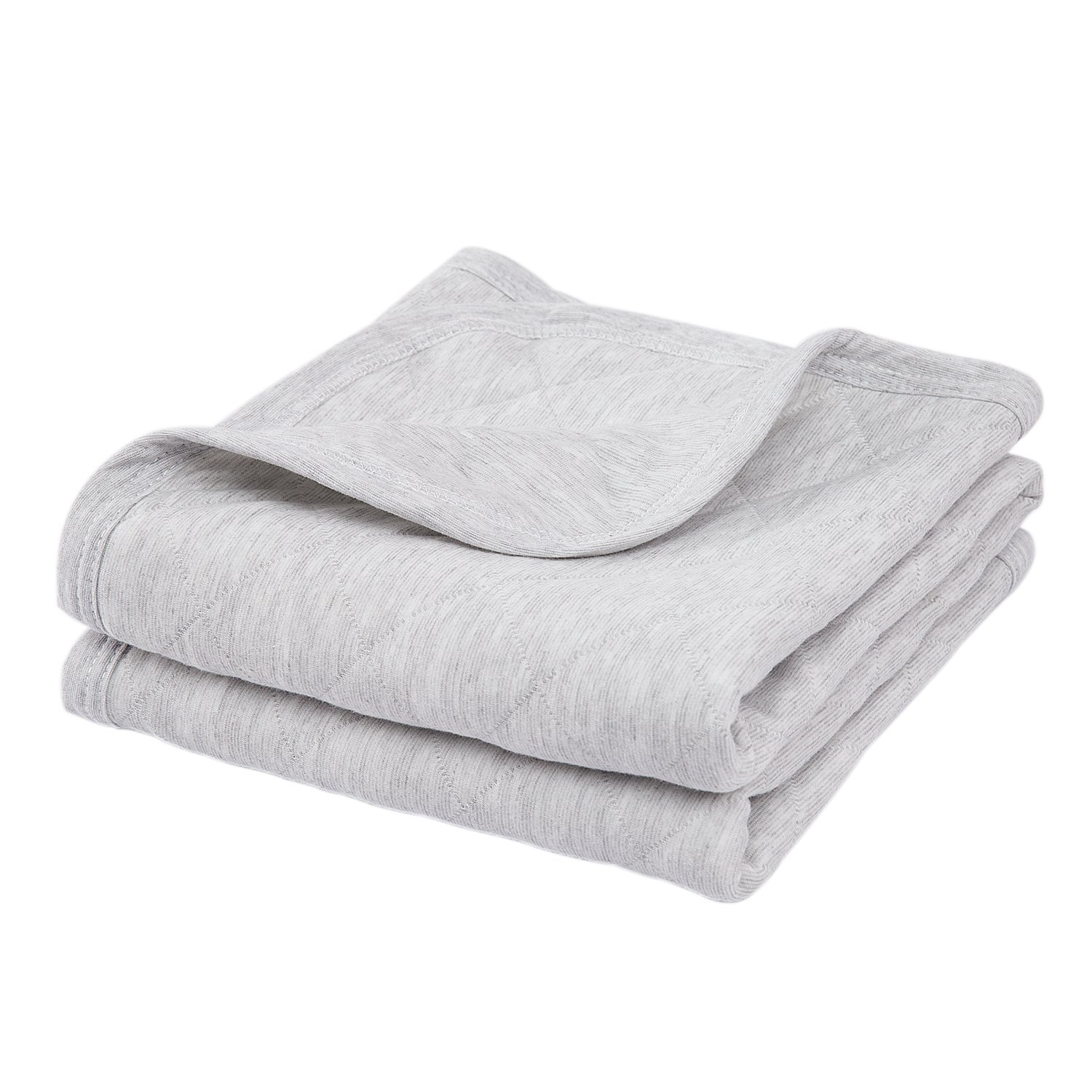 TILLYOU Allergy-Free Quilted Thermal Baby Blanket Lightweight Toddler Blanket for Boys Girls 39x39 Large, 100% Breathable Jersey Cotton, Super Soft and Warm Crib Blanket for All Seasons - Gray