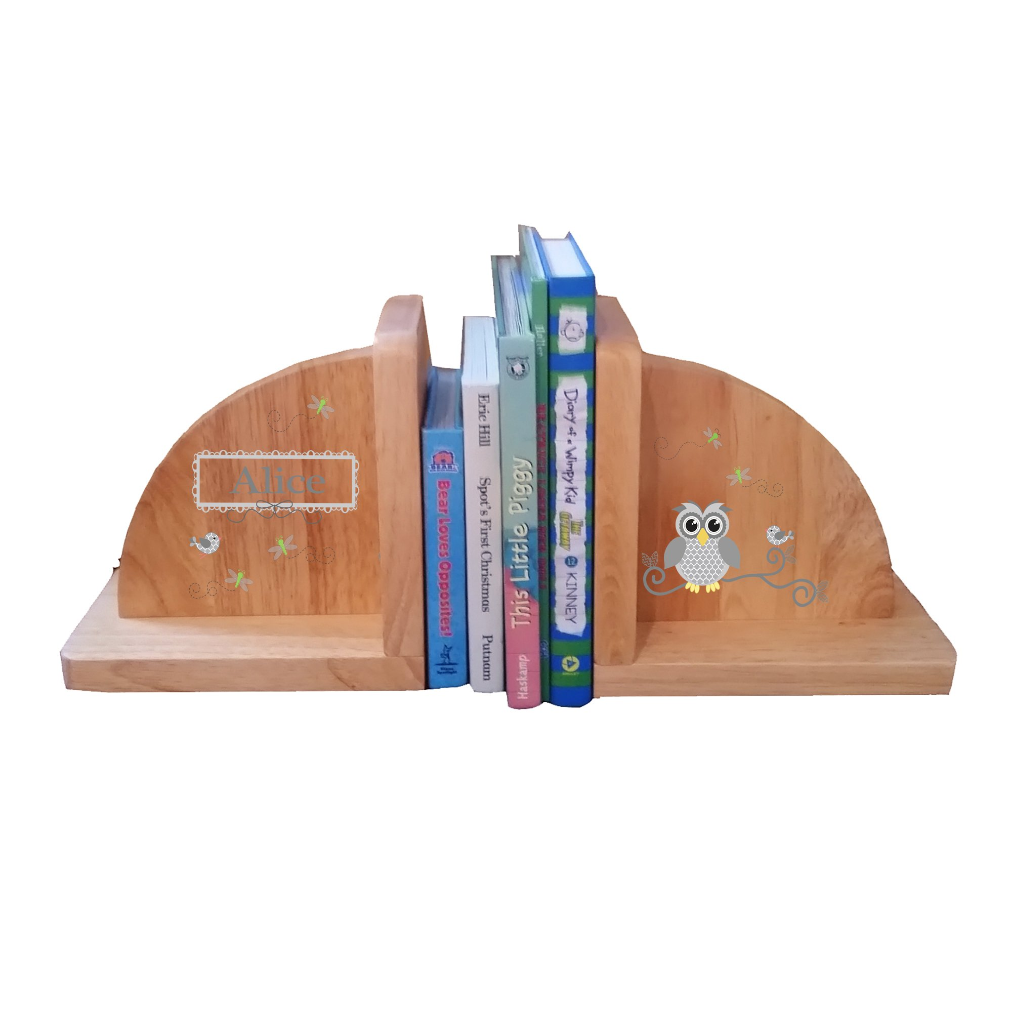 Personalized Gray Owl Natural Childrens Wooden Bookends