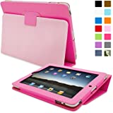 Snugg Leather Kick Stand Case for Apple iPad 2 - Hot pink