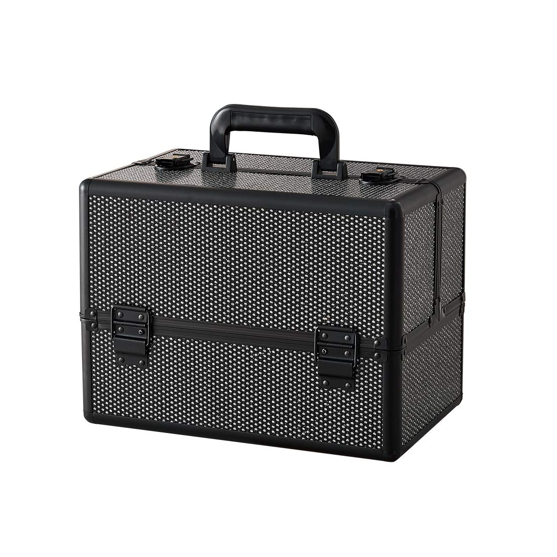 Makeup case - Professional Portable Aluminum Cosmetic Organizer Box With Folding Trays and Locks Black