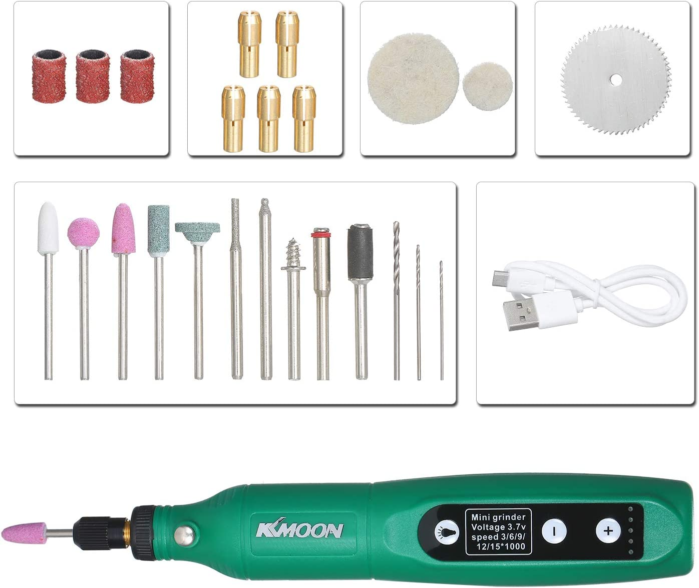 Mini Amoladora El/éctrica,M/áquina de Rectificado de Carga USB,Amoladora El/éctrica Ajuste de 5 Velocidades,para Grabado de Jade,Punzonado de Madera,Pulido de Metal