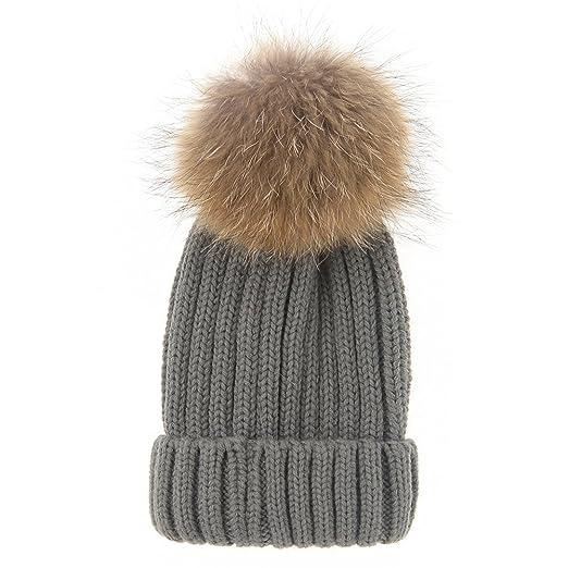 1599fda780e Henglong Women Winter Thick Beanies Raccoon Fur Pom Pom Wool Knitted Cap  Grey