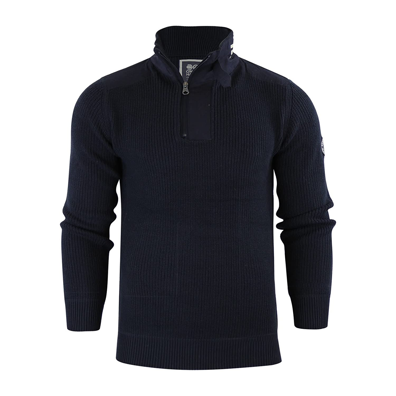 Mens Jumper Crosshatch Garforth Waffle Knitted 1/4 Zip Up Funnel Neck Sweater