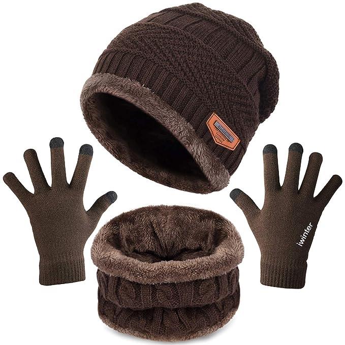 Gorro Bufanda Guantes de Pantalla T/áctil de Invierno 3 Piezas de Ropa de Abrigo de Invierno