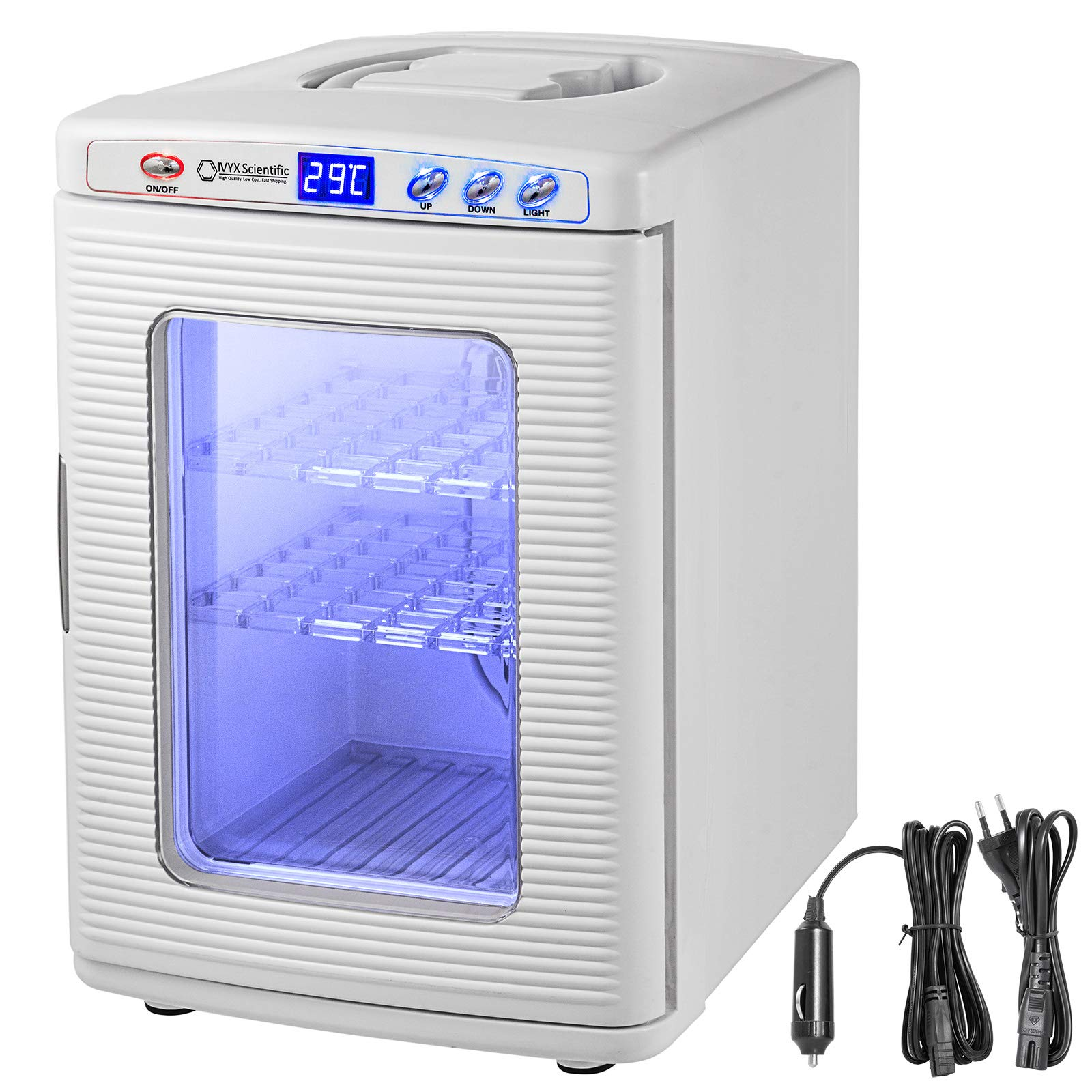 Happybuy 25L Reptile Incubator Scientific Lab Incubator Cooling and Heating 2-60°C 12V/110V Work for Small Reptiles (White)