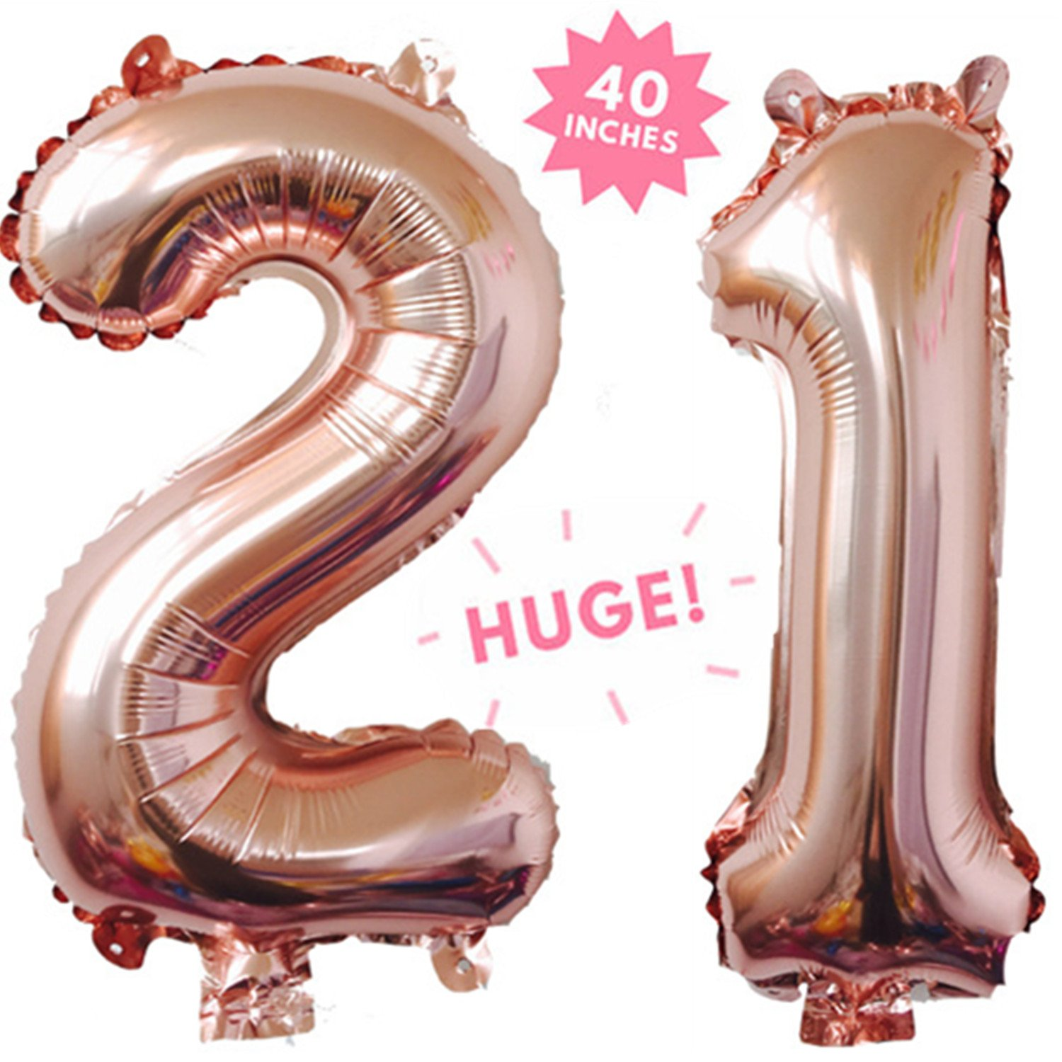 40 Inch Rose Gold Jumbo Digital 21 Number Balloons Huge Giant Balloons Foil Mylar Number Balloons For Birthday Party,Wedding, Bridal Shower Engagement Photo Shoot, Anniversary ,21 by Rose&Wood (Image #1)