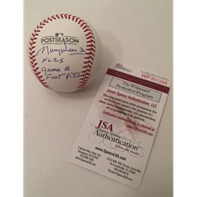 Maury Wills Signed Autograph 2017 Post Season Baseball MLB Nlcs Game 2  First Pitch JSA Certified 138a7a60d