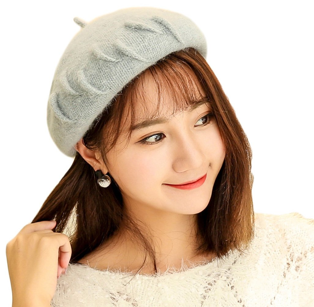 Wheelsp Women Elegant Warm Slouchy Knitted Beret Hat For Winter Autumn Solid Color Top Quality Beret Hats Cap (Grey)