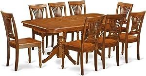 East West Furniture NAPL9-SBR-W 9-Piece Formal Dining Table Set