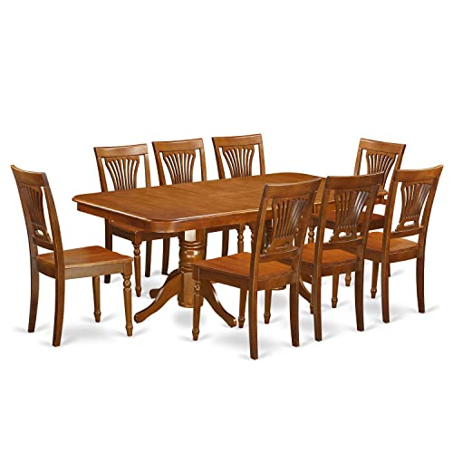 NAPL9-SBR-W 9 Pcformal Dining room set Dining Table and 8 Dining Chairs