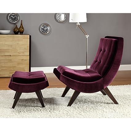 Amazoncom Chelsea Lane Lashay Velvet Lounge Chair Ottoman