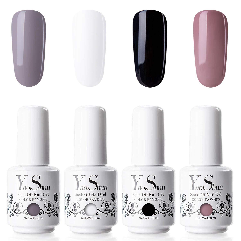 Gel Nail Polish - YaoShun Gel Polish Kit Sock Off Nail Gel UV Gel 4 Colors Gift Box, Nail Polish Kit with UV LED Light Manicure Nail Gel Kit 8ml #03