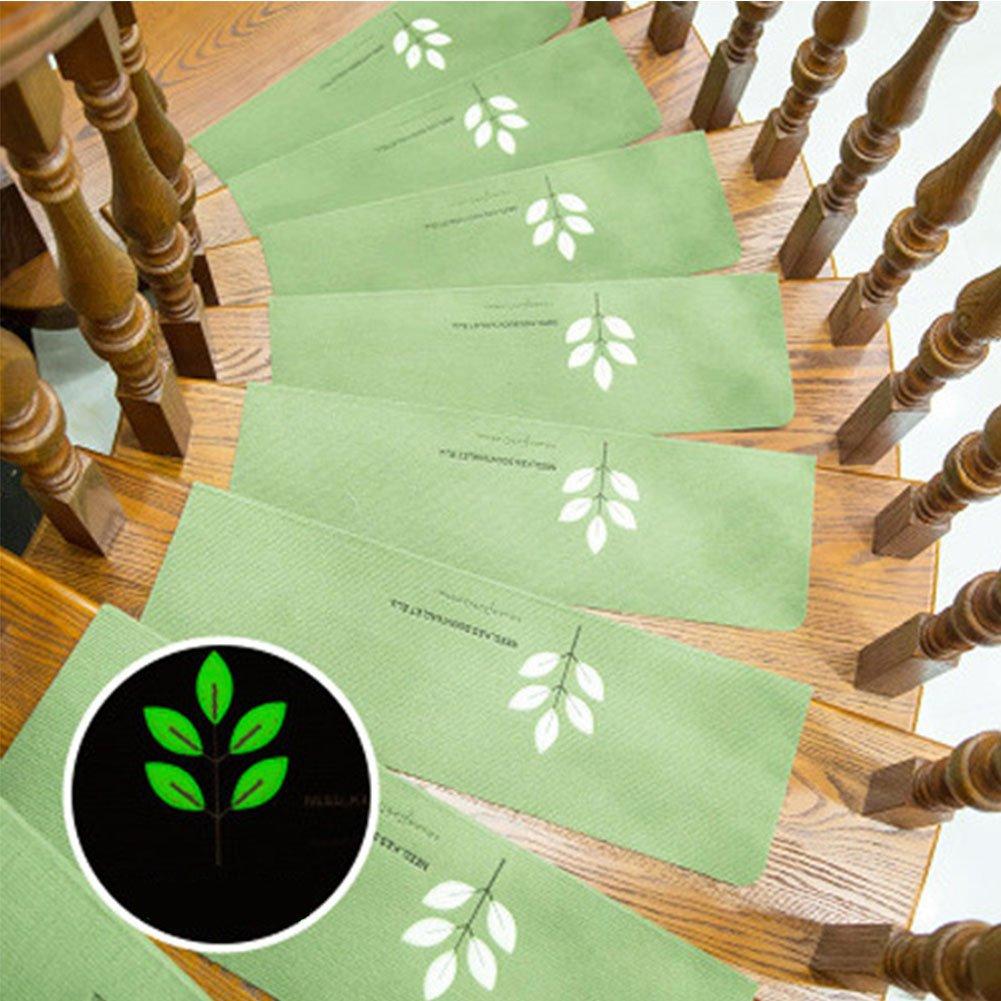 Meiyiu Soft Home Stairs Non-Slip Mats Carpet Floor Protector Self-Adhesive Luminous Mat Fruit Green Embroidery 55 22 4.5cm