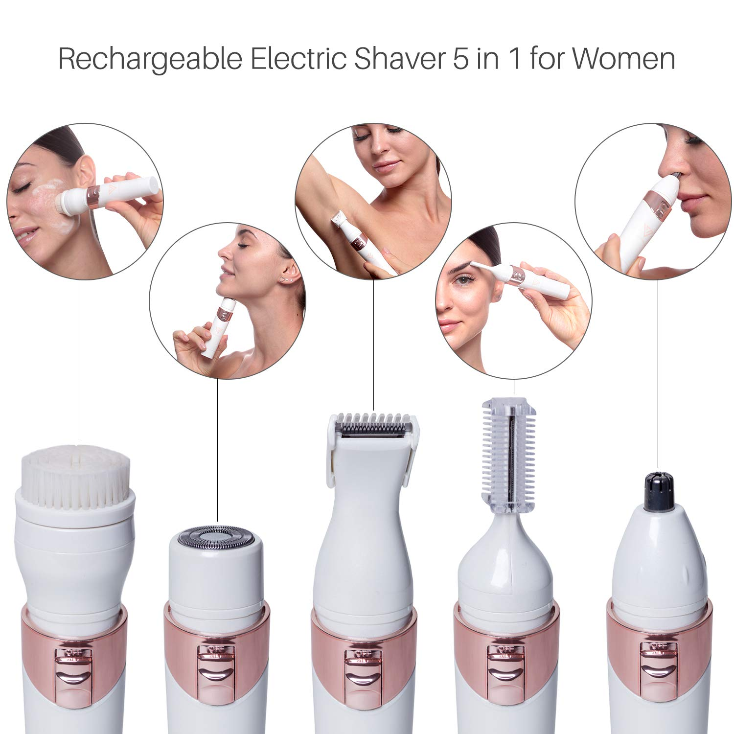 5 In 1 Women's Electric Shaver & Bikini Trimmer Set, Cordless Rechargeable Hair Removal