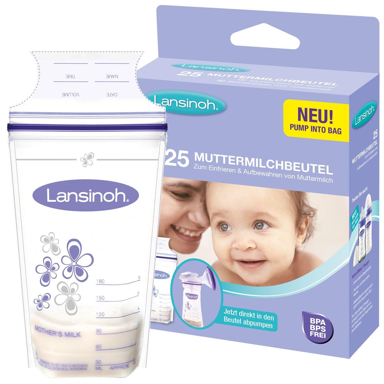 Lansinoh 99204 - Contenitori per latte materno, 25 pezzi contenitori latte latte in polvere tiralatte