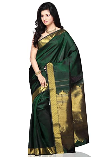6f0b5f604d142 Utsav Fashion Women s Dark Green Pure Kanchipuram Handloom Silk Saree with  Blouse  Amazon.in  Clothing   Accessories