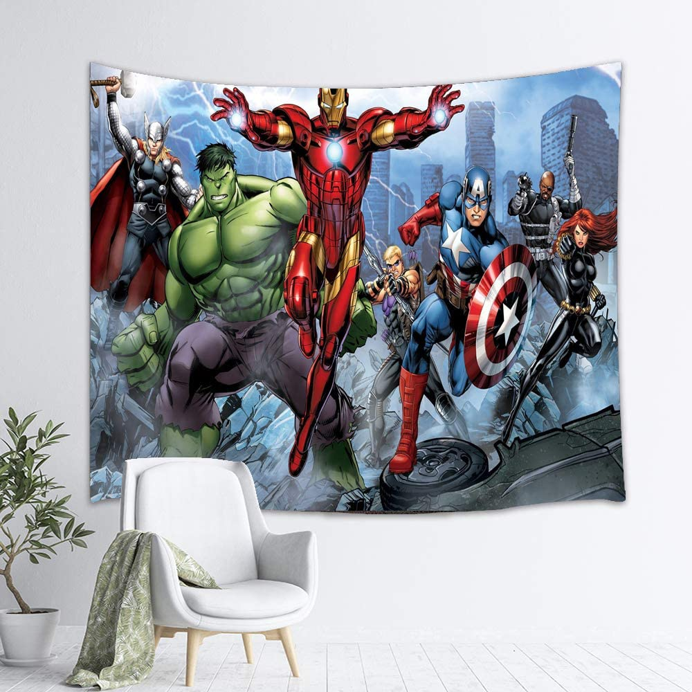 Hulk Iron Man Spider-man Captain America Superhero Custom Tapestry,Comics Theme Wall Hanging for Bedroom Living Room Dorm, 60 X 50 Inch