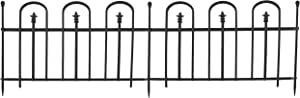 Sunnydaze 2-Piece Strasbourg Design Steel Fence Panel with 3 Posts - Decorative Metal Garden and Landscape Fencing - 37.5-Inch Wide x 30.5-Inch Tall Per Panel - 6-Foot Overall Length - Black