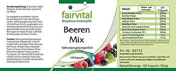 Bayas puras - VEGANO - dosis alta - 120 cápsulas - 8 bayas con Spirulina - ¡Calidad Alemana garantizada!