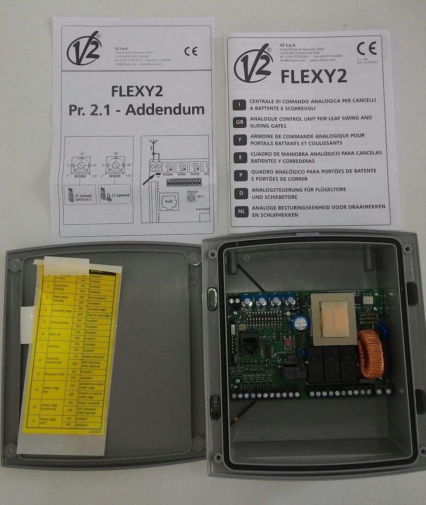 V2 flexy2 Cuadro de maniobras analógico 230V para cancelas batientes y correderas: Amazon.es: Electrónica