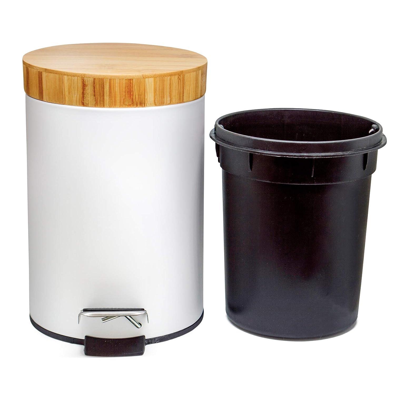 Kazai Kosmetik Eimer 3 Liter Design Treteimer Mit Echtem Bambus