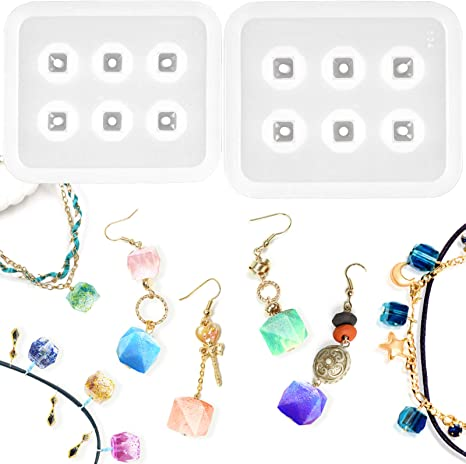 Resin Mold Jewelry Pendant /& Earring Set Choice Square Cube Ball Shape