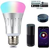 Lampwin Smart LED Lampe Wi-Fi E27 Glühbirne, 7W Intelligente Lampe Dimmbar Mehrfarbig RGB Birne Kompatibel zu Amazon Echo Alexa und Google Home, Smartphone,Tablet, Steuerbar via App