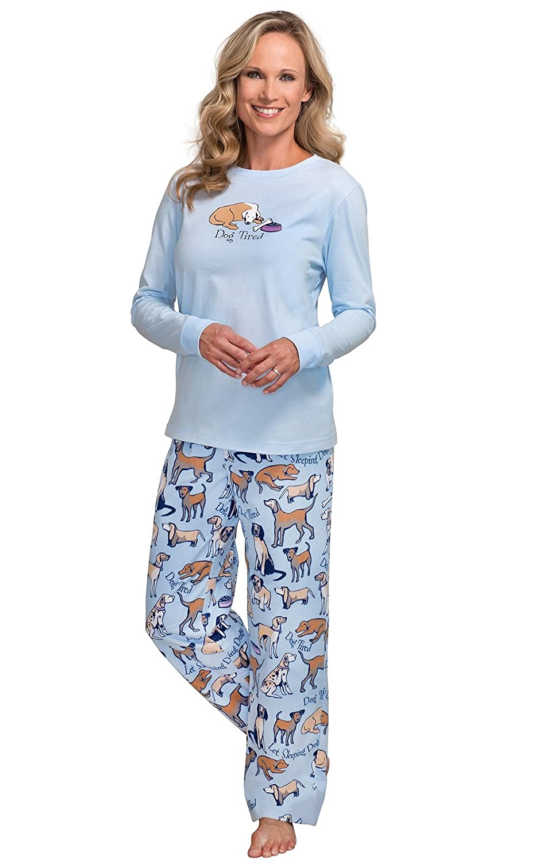 PajamaGram Women's Dog Tired Flannel Long-Sleeved Pajamas, Blue GKPJ04037-GKPW04037