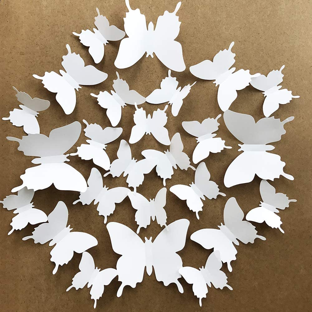 V-Time 3D White Butterfly Wall Stickers 24 Pieces Removable Mural Stickers Wall Stickers Decal for Home and Room Decoration Kids Room Bedroom Decor Living Room Sticker (White)