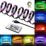 Tira LED, GLURIZ LED Tira de TV, Tiras de Luces LED RGB 2M 60LEDs Impermeable USB Tira de LED Retroiluminación de TV con Mando a Distancia 24 Botones para HDTV, PC, etc
