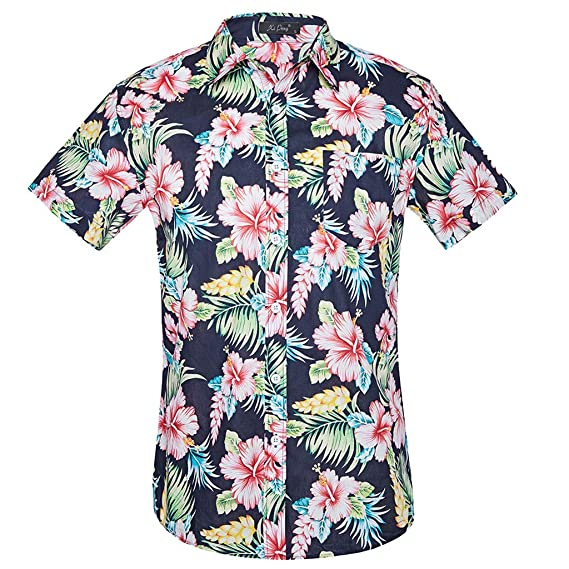 aliveGOT Men Short Sleeve Button Front Floral Print Cotton Beach Hawaiian Shirt