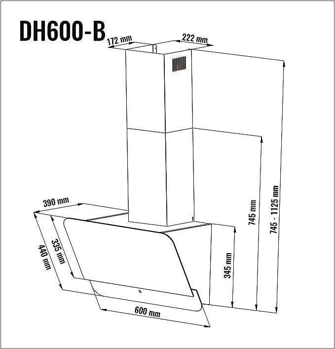 Viesta DH600B Campana de cocina 60cm incluido filtro de carbono activo - Campana extractora/Sensor de control táctil, iluminación LED, hecho de acero y ...