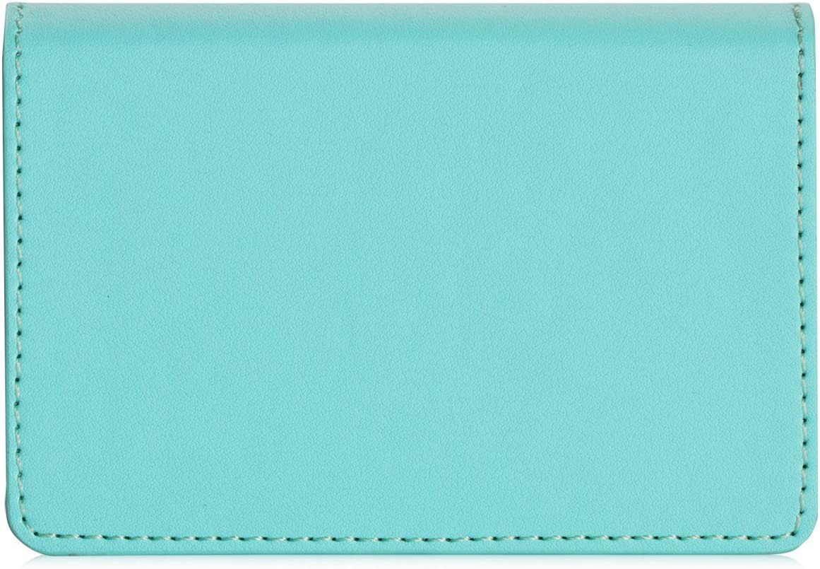 Hold 30 pics of Cards FYY Business Card Holder Handmade Premium Leather Business Name Card Case Universal Card Holder with Magnetic Closure MintGreen