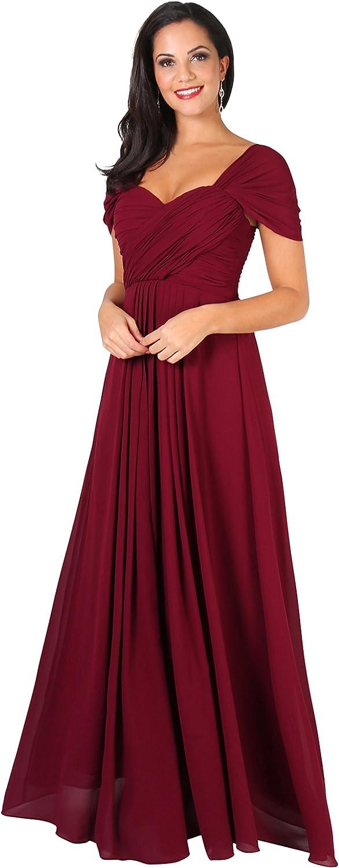KRISP Vestido Mujer Fiesta Largo Talla Grande Hombro Descubierto Invitada Boda Dama