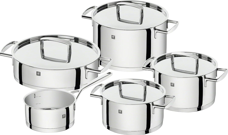 Zwilling - Batería de cocina, acero inoxidable, gris brillante