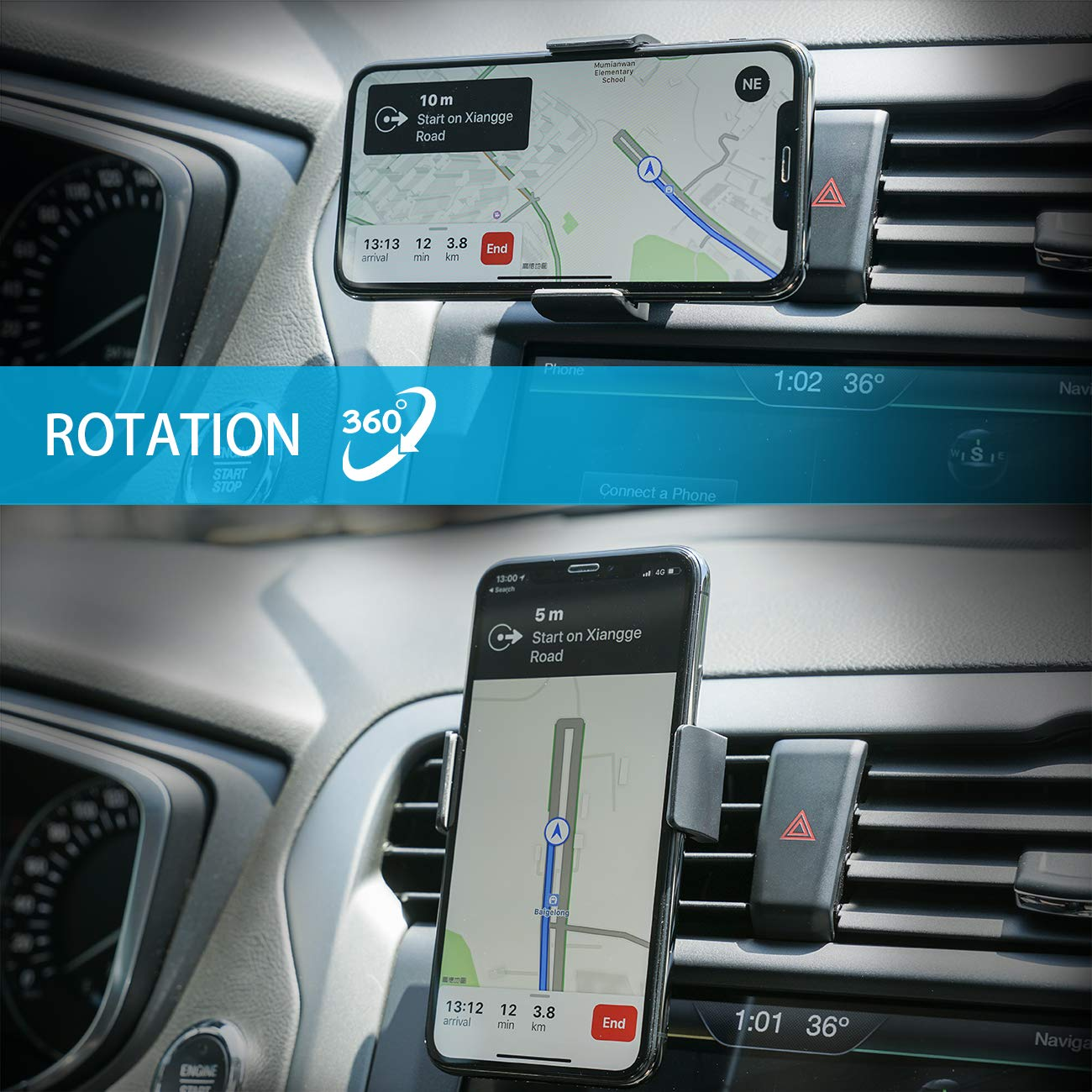 Car Phone Mount, Lamicall Car Vent Holder : Universal Stand Cradle Holder Compatible with Phone Xs Max XR 8 X 8P 7 7P 6S 6P 6, Samsung Galaxy S5 S6 S8 S9 S8+ S9+, Google, LG, Huawei, Other Smartphone by Lamicall (Image #3)