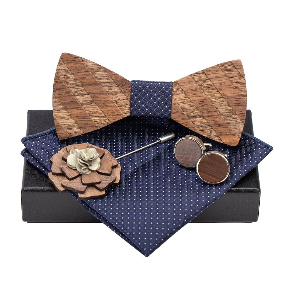 Amzchoice Classic Handmade Mens Wood Bow Tie with Matching Pocket Square Men's Cufflinks Lapel Flower Set (121)