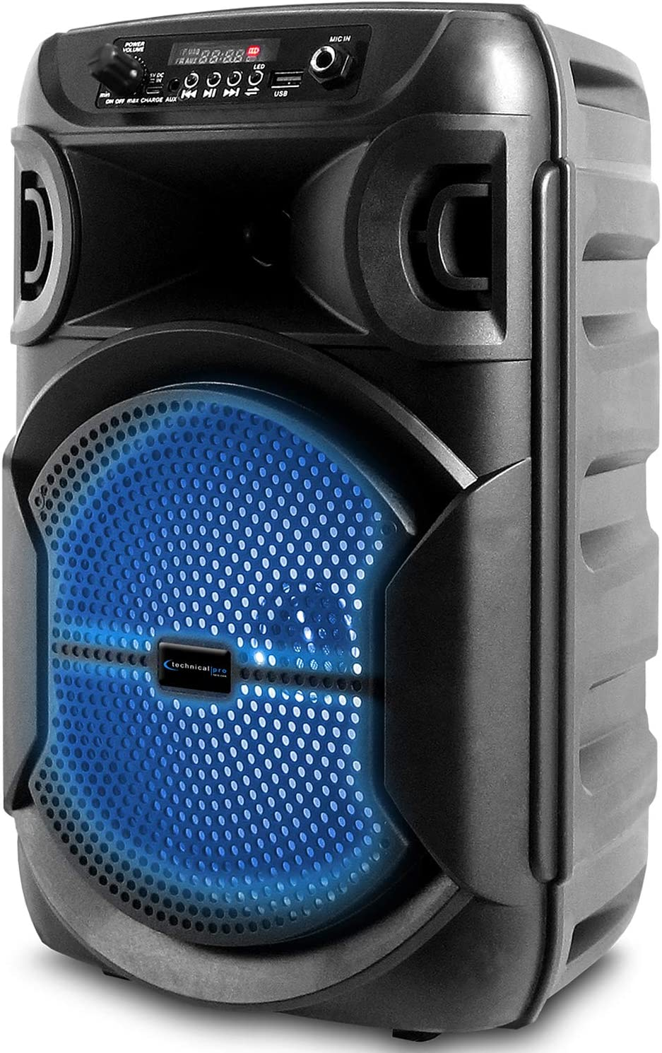 "Technical Pro BOOM8 Portable Rechargeable 8"" LED Party Speaker w/Bluetooth/USB"