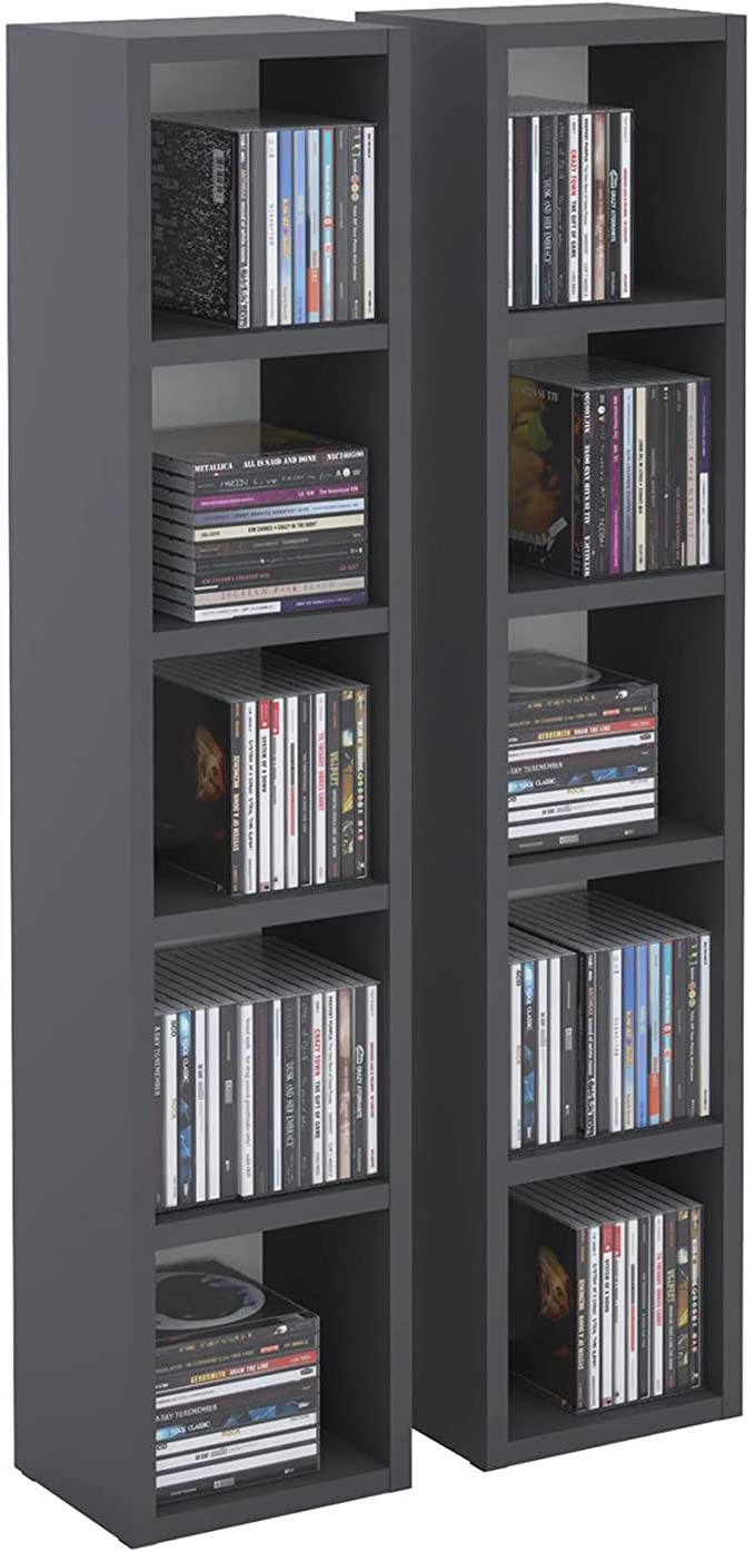 Estantería de columna modular y apilable para CD y DVD, de tableros DM y color gris antracita, modelo Musique