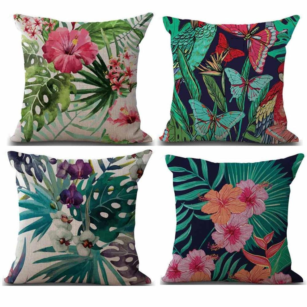 Bokeley クッションカバー 4枚パック コットンリネン 正方形 植物プリント 装飾スローピローケース ベッドホーム装飾 18