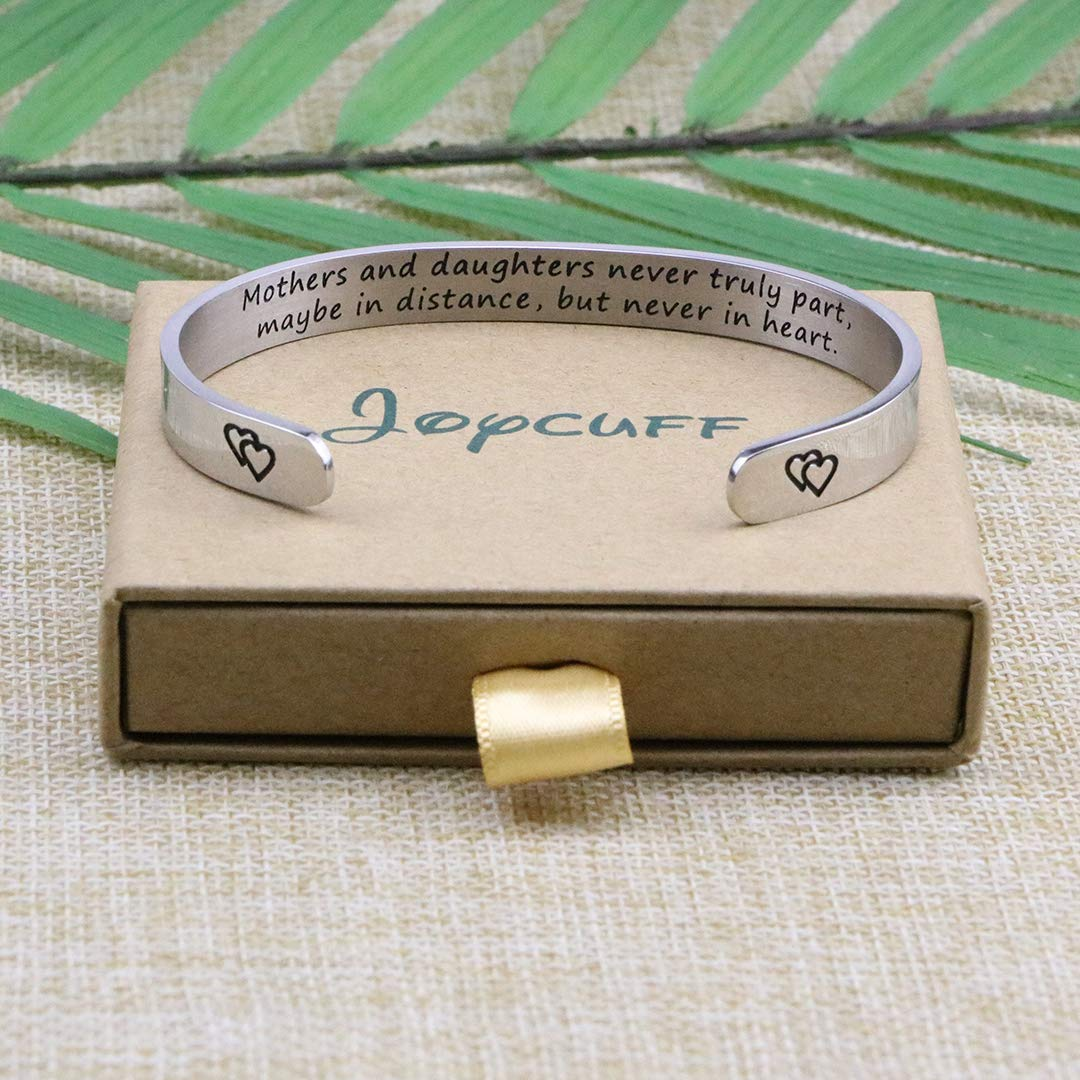 Joycuff Mothers and Daughters Never Truly Part Maybe in Distance But Never Truly Part But Never in Heart Bracelet Gift for Mothers Day Long Distance Jewelry