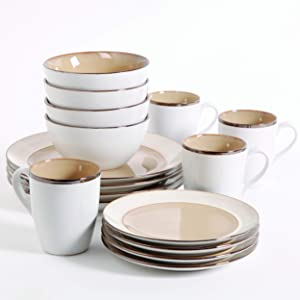 Gibson Elite Amberwood Round Reactive Glaze Stoneware Dinnerware Set, Service for Four (16pcs), Taupe