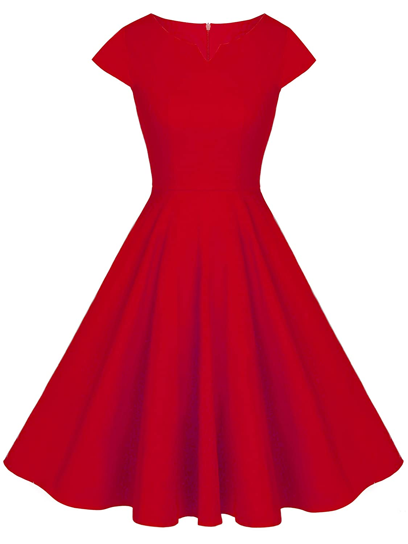 TALLA S. FAIRY COUPLE 1950S Vintage Rockabilly Lunares Cap Mangas Vestido de Baile DRT019 Rojo