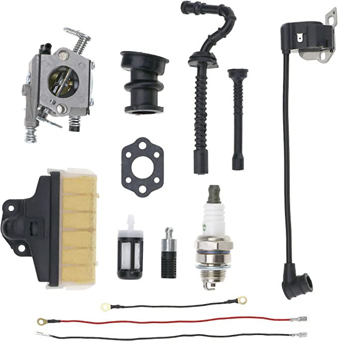 OTOTEC Juego de 13 bobinas de encendido para carburador y motosierra compatible con Stihl MS230 MS250 021 023 025 filtro de combustible de aceite de aire