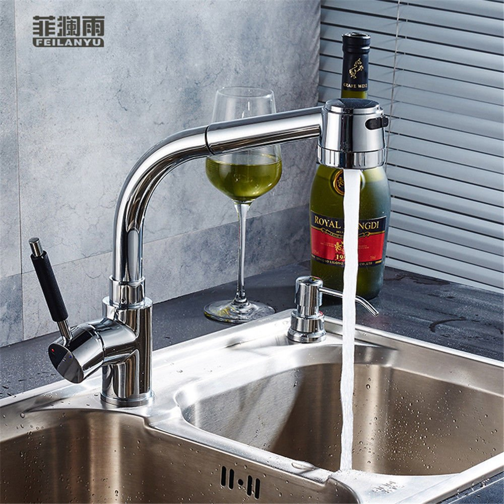 ETERNAL QUALITY Bathroom Sink Basin Tap Brass Mixer Tap Washroom Mixer Faucet Kitchen faucet pull hot and cold tap water to wash dishes pots to redate the telescoping Fau