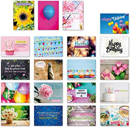 ewtshop 20 tarjetas postales Juego Cumpleaños con 20 Frases & Citas//Postal con texto en alemán: Amazon.es: Oficina y papelería
