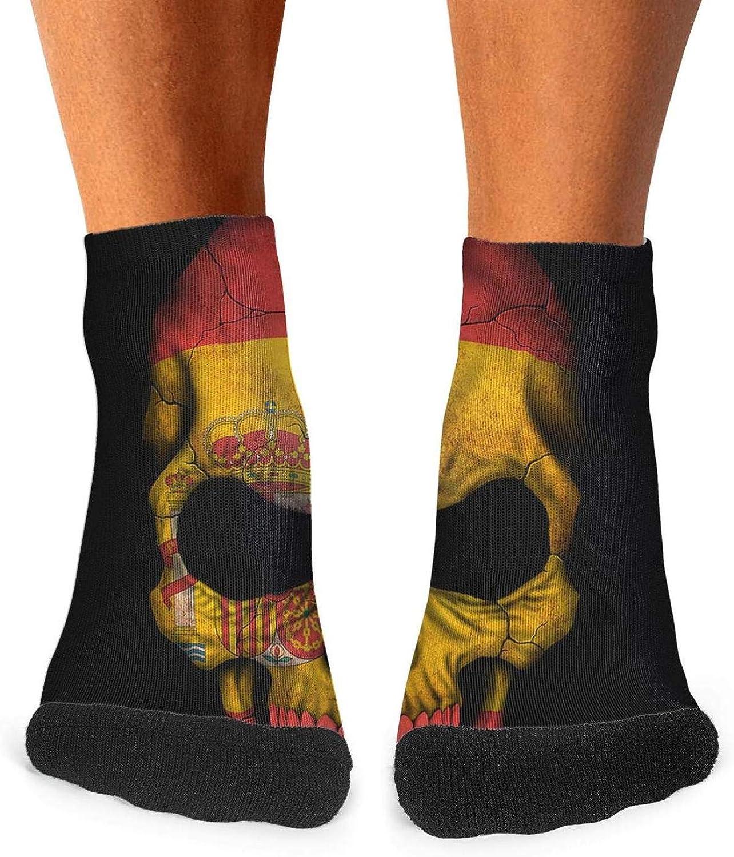 Floowyerion Mens Dark Spanish Flag Skull Art Novelty Sports Socks Crazy Funny Crew Tube Socks