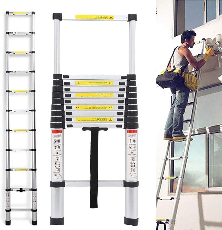 DICN Escaleras telescópicas de extensión de Aluminio, 3,2 m, 330 Libras Escalera Plegable retráctil Multiusos con Capacidad de Carga EN131: Amazon.es: Coche y moto